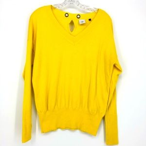 Cabi 5281 Canary Pullover Sweater Yellow V Neck